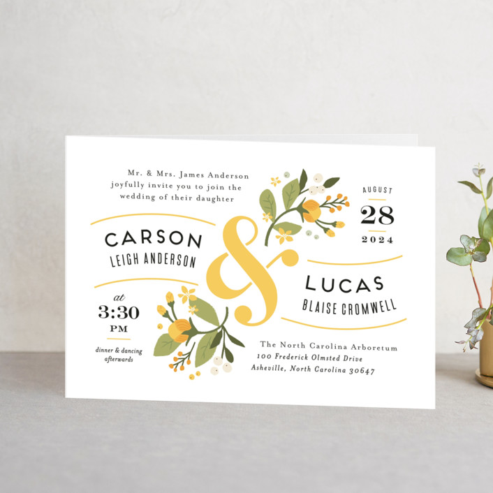"""Floral Ampersand"" - Floral & Botanical, Vintage Four-panel Wedding Invitations in Sea Breeze by Jennifer Wick."