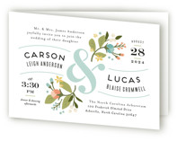 This is a blue four panel wedding invitation by Jennifer Wick called Floral Ampersand with standard printing on signature in four-panel.