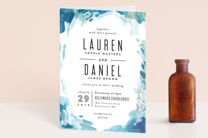 """""""Gallery Abstract Art"""" - Four-panel Wedding Invitations in Ocean by Alethea and Ruth."""