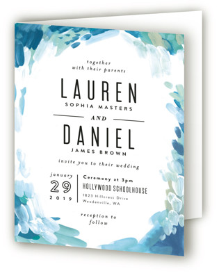 Gallery Abstract Art Four-Panel Wedding Invitations