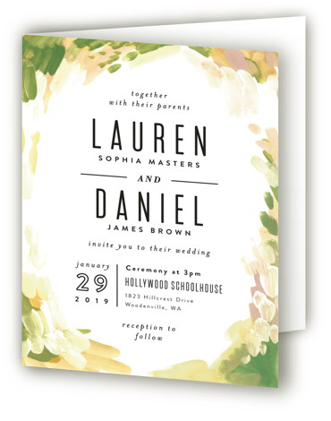 This is a portrait bohemian, painterly, yellow Savvy Wedding Invitations by Alethea and Ruth called Gallery Abstract Art with Standard printing on Signature in Four Panel Fold Over (Message Inside) format. This wedding invite features abstract art framing clean typography. ...
