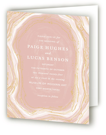 This is a portrait abstract, bohemian, rustic, pink Savvy Wedding Invitations by Kaydi Bishop called Gilt Agate with Standard printing on Signature in Four Panel Fold Over (Message Inside) format. A classic watercolor take on chic geodes with gold foil ...