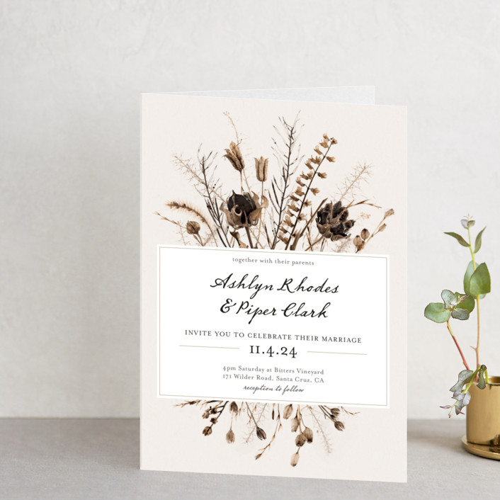 """Gone To Seed"" - Rustic Four-panel Wedding Invitations in Taupe by Honeybunch Studio."
