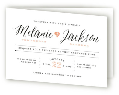 Heartbeat Four-Panel Wedding Invitations