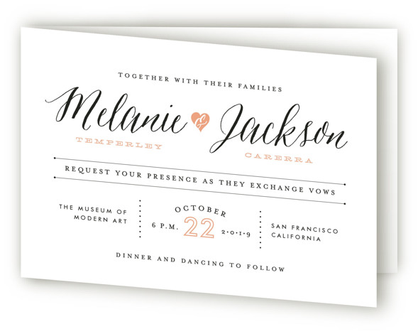 This is a landscape modern, pink Savvy Wedding Invitations by Sarah Curry called Heartbeat with Standard printing on Signature in Four Panel Fold Over (Message Inside) format. This invitation features the couple's names in elegant calligraphy script and a sweet ...