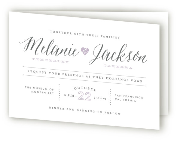 This is a landscape modern, purple Savvy Wedding Invitations by Sarah Curry called Heartbeat with Standard printing on Signature in Four Panel Fold Over (Message Inside) format. This invitation features the couple's names in elegant calligraphy script and a sweet ...