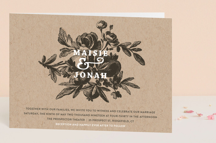 """Love in Bloom"" - Floral & Botanical, Rustic Four-panel Wedding Invitations in Kraft by R studio."