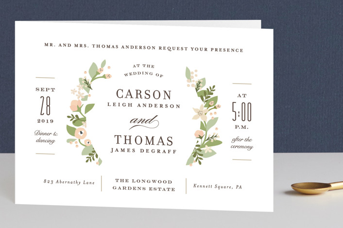 """Longwood Estates"" - Floral & Botanical, Elegant Four-panel Wedding Invitations in Peach Sorbet by Jennifer Wick."
