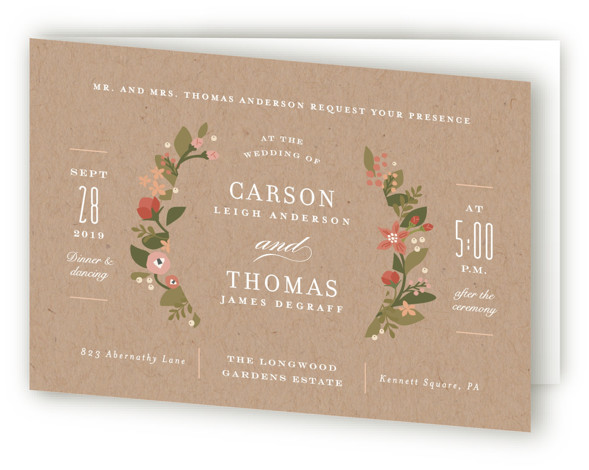 This is a landscape classical, elegant, floral, brown Savvy Wedding Invitations by Jennifer Wick called Longwood Estates with Standard printing on Signature in Four Panel Fold Over (Message Inside) format. A playful mix of formal type and garden florals create ...