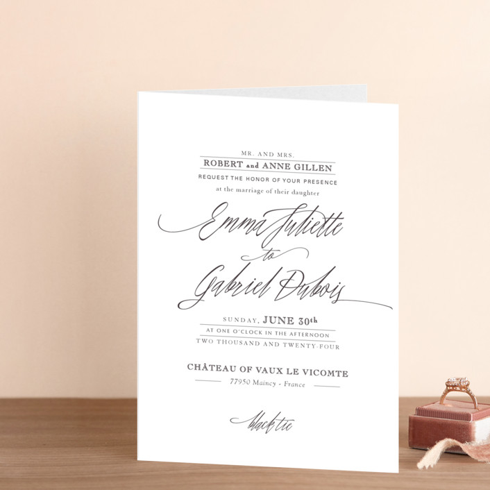 """Opulence"" - Formal, Elegant Four-panel Wedding Invitations in Snow Caps by Design Lotus."