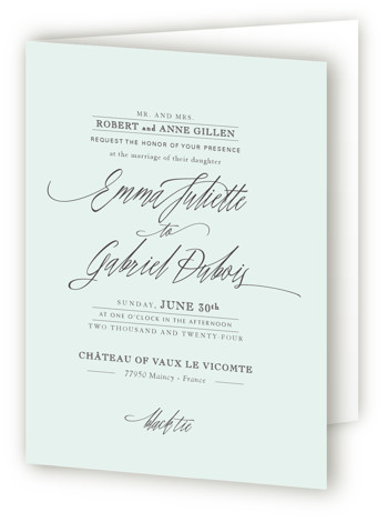 This is a portrait classic and formal, classical, elegant, formal, simple and minimalist, blue, green Savvy Wedding Invitations by Design Lotus called Opulence with Standard printing on Signature in Four Panel Fold Over (Message Inside) format. I'm so fancy. ;) ...