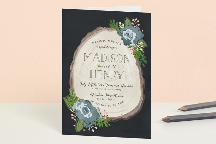 """""""Rustic Wooded Romance"""" - Floral & Botanical, Rustic Four-panel Wedding Invitations in Bluebell by Pistols."""