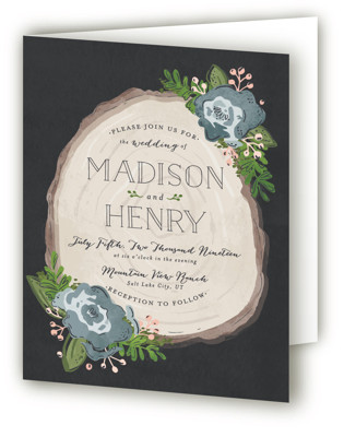Rustic Wooded Romance Four-Panel Wedding Invitations