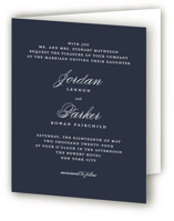 This is a blue four panel wedding invitation by Kimberly FitzSimons called Flawless with standard printing on signature in four-panel.