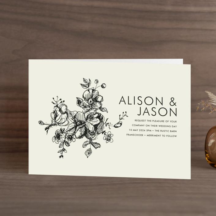 """Elegance Illustrated"" - Four-panel Wedding Invitations in Beige by Phrosne Ras."