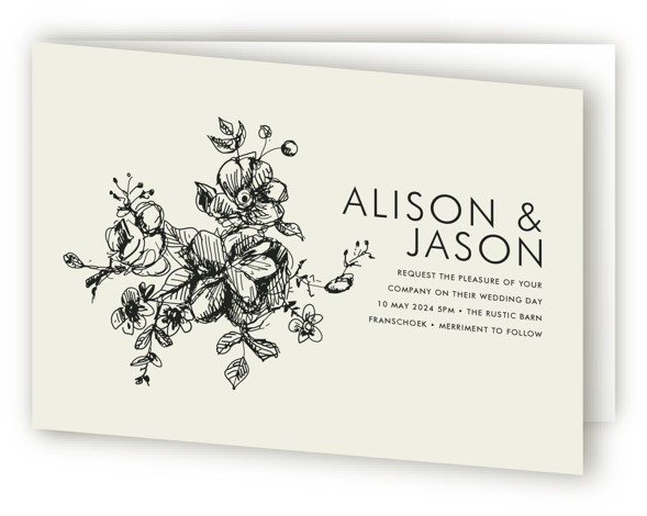 This is a landscape botanical, classical, elegant, formal, hand drawn, rustic, simple, brown Savvy Wedding Invitations by Phrosne Ras called Elegance Illustrated with Standard printing on Signature in Four Panel Fold Over (Message Inside) format.