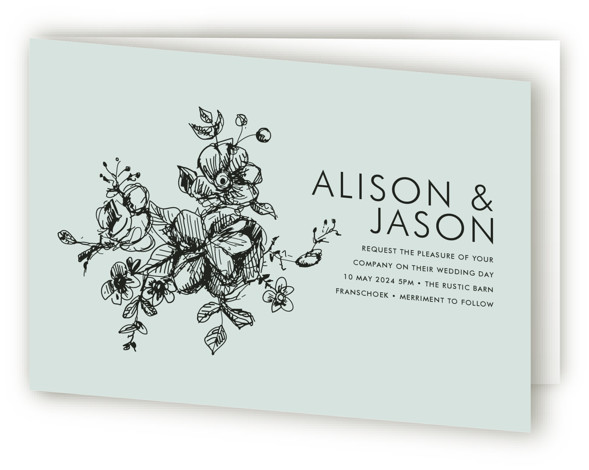 This is a landscape botanical, classical, elegant, formal, hand drawn, rustic, simple, blue Savvy Wedding Invitations by Phrosne Ras called Elegance Illustrated with Standard printing on Signature in Four Panel Fold Over (Message Inside) format.