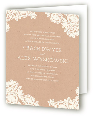Lace and Kraft Four-Panel Wedding Invitations