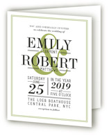 This is a green four panel wedding invitation by Ariel Rutland called Wed in Type with standard printing on signature in four-panel.