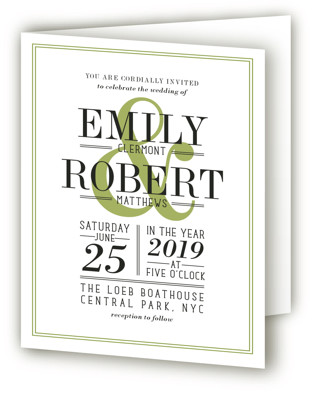Wed in Type Four-Panel Wedding Invitations
