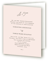 This is a pink four panel wedding invitation by Kim Dietrich Elam called Estate with standard printing on signature in four-panel.