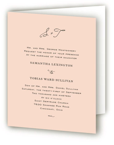 This is a portrait classical, elegant, formal, preppy, simple and minimalist, orange Savvy Wedding Invitations by Kim Dietrich Elam called Estate with Standard printing on Signature in Four Panel Fold Over (Message Inside) format.