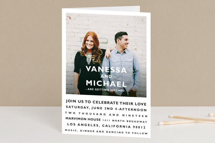 """Desenfadado"" - Bold typographic, Simple Four-panel Wedding Invitations in Black by Aspacia Kusulas."