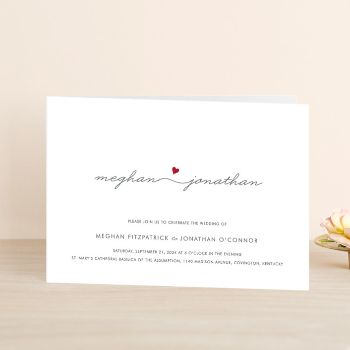 """Love Connection"" - Modern, Simple Four-panel Wedding Invitations in Red Hot by Kim Dietrich Elam."