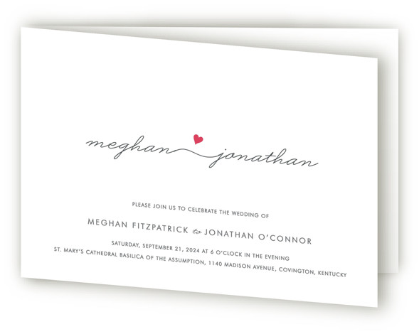 This is a landscape modern, simple, simple and minimalist, whimsical, pink Savvy Wedding Invitations by Kim Dietrich Elam called Love Connection with Standard printing on Signature in Four Panel Fold Over (Message Inside) format.