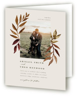 This is a brown four panel wedding invitation by Kate Ahn called botanical portrait with standard printing on signature in four-panel.