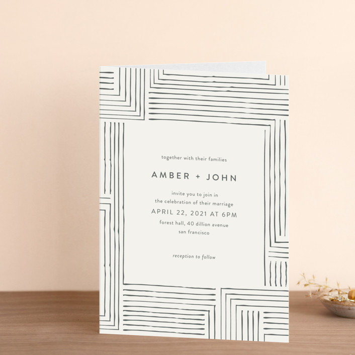 """Pattern Play"" - Four-panel Wedding Invitations in Pebble by Anelle Mostert."