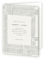 This is a grey four panel wedding invitation by Seven Swans called Pattern Play with standard printing on signature in four-panel.