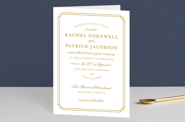 """""""Luxe Border"""" - Formal, Classical Four-panel Wedding Invitations in Gold by Sarah Brown."""