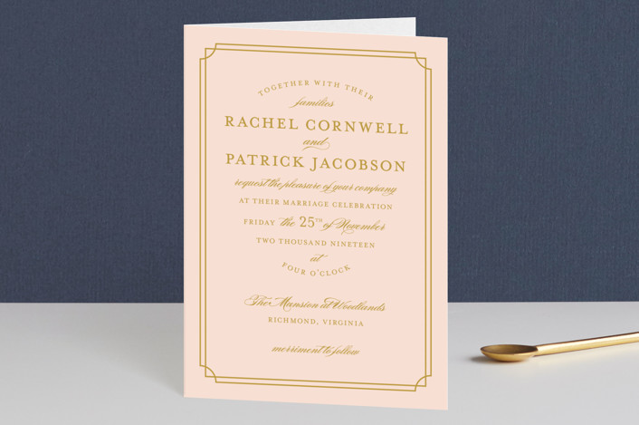 """Luxe Border"" - Formal, Classical Four-panel Wedding Invitations in Gold by Sarah Brown."