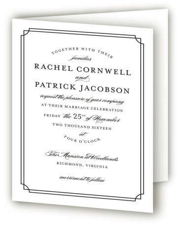 This is a portrait classic and formal, classical, formal, black and white Savvy Wedding Invitations by Sarah Brown called Luxe Border with Standard printing on Signature in Four Panel Fold Over (Message Inside) format. Formal type and rich colors give ...
