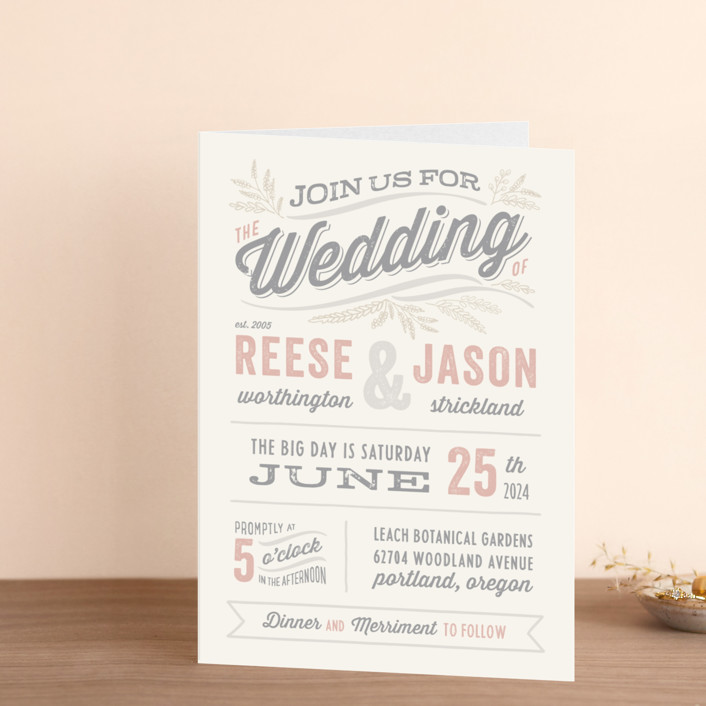 """Rustic Charm"" - Vintage Four-panel Wedding Invitations in Petal by Hooray Creative."