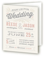 This is a pink four panel wedding invitation by Hooray Creative called Rustic Charm with standard printing on signature in four-panel.