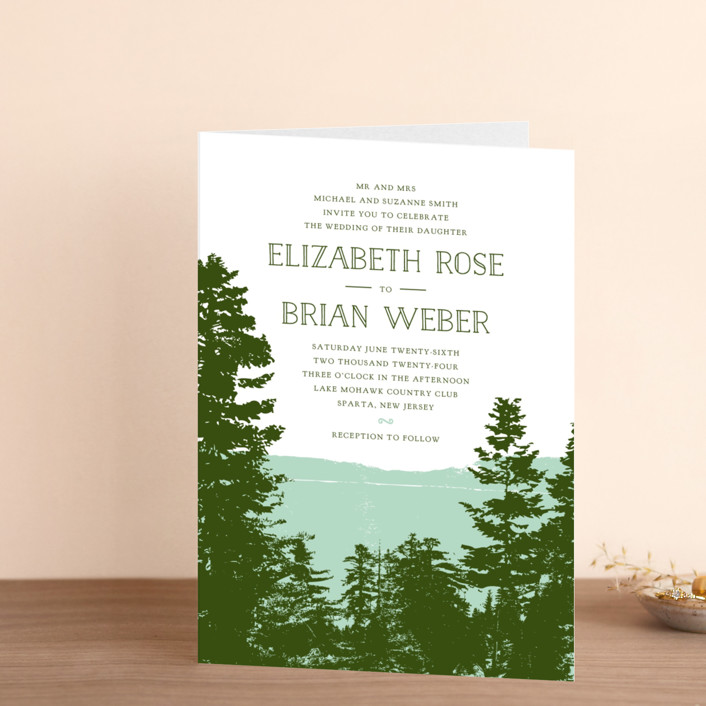 """""""Mountain View"""" - Rustic, Destination Four-panel Wedding Invitations in Pine Green by Ariel Rutland."""
