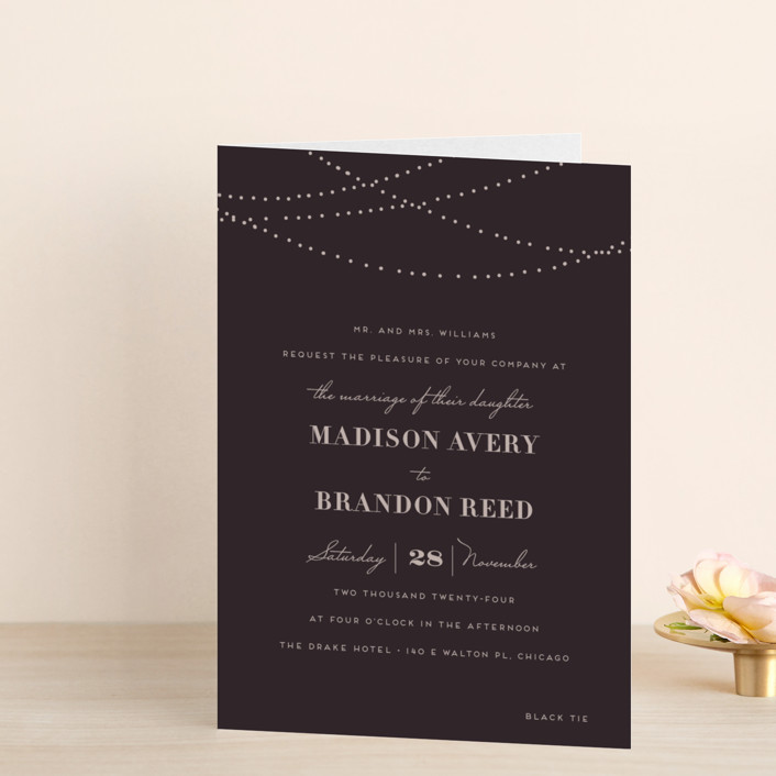 """Lavish"" - Formal, Elegant Four-panel Wedding Invitations in Chalkboard by Design Lotus."