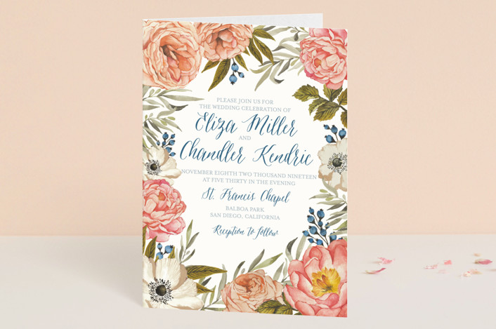 """""""Garden Rose"""" - Floral & Botanical Four-panel Wedding Invitations in Garden Rose by Wildfield Paper Co.."""