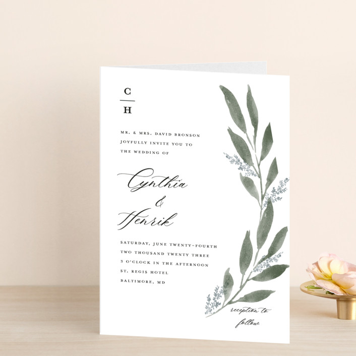"""Pressed Foliage"" - Four-panel Wedding Invitations in Heather by Stacey Meacham."