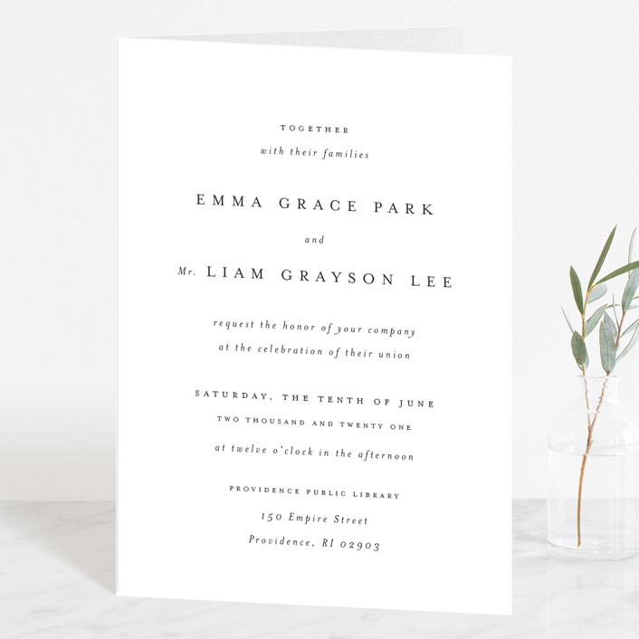 """A Thousand Years"" - Four-panel Wedding Invitations in Classic White by Design Lotus."