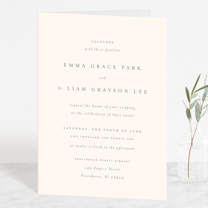 """""""A Thousand Years"""" - Four-panel Wedding Invitations in Classic White by Design Lotus."""