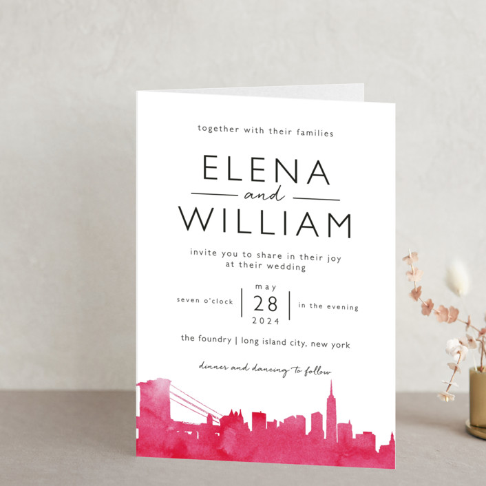"""Skyline - New York"" - Hand Drawn, Cities & States Four-panel Wedding Invitations in Magenta by Laura Condouris."