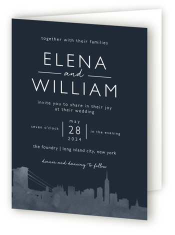 This is a portrait cities and states, hand drawn, illustrative, modern, blue Savvy Wedding Invitations by Laura Condouris called Skyline New York with Standard printing on Signature in Four Panel Fold Over (Message Inside) format.