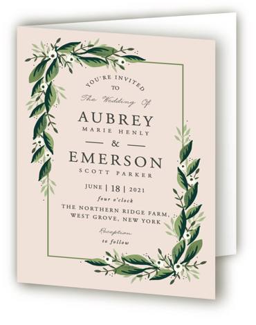 This is a green, pink Savvy Wedding Invitations by Oma N. Ramkhelawan called Paradise with Standard printing on Signature in Four Panel Fold Over (Message Inside) format. A beautiful design featuring hand drawn lush greenery and botanicals that are perfect ...