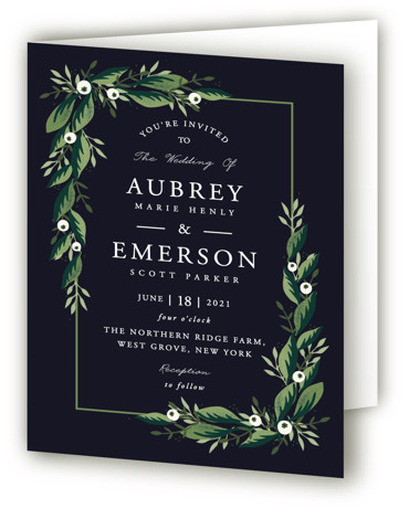 This is a blue, green Savvy Wedding Invitations by Oma N. Ramkhelawan called Paradise with Standard printing on Signature in Four Panel Fold Over (Message Inside) format. A beautiful design featuring hand drawn lush greenery and botanicals that are perfect ...