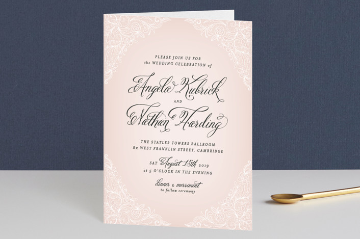 """Elegant Lace"" - Elegant, Classical Four-panel Wedding Invitations in Blush by Hooray Creative."
