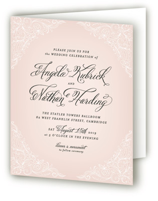 Elegant Lace Four-Panel Wedding Invitations