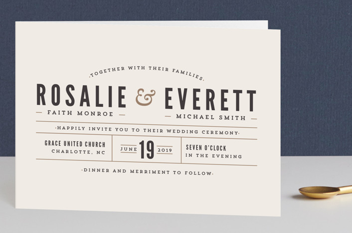 """""""Classic Type"""" - Simple, Bold typographic Four-panel Wedding Invitations in Mocha by Pistols."""